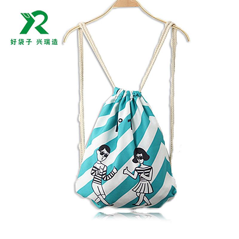 棉麻束口袋廠家 定制帆布雙肩抽繩背包袋 免費印刷logo