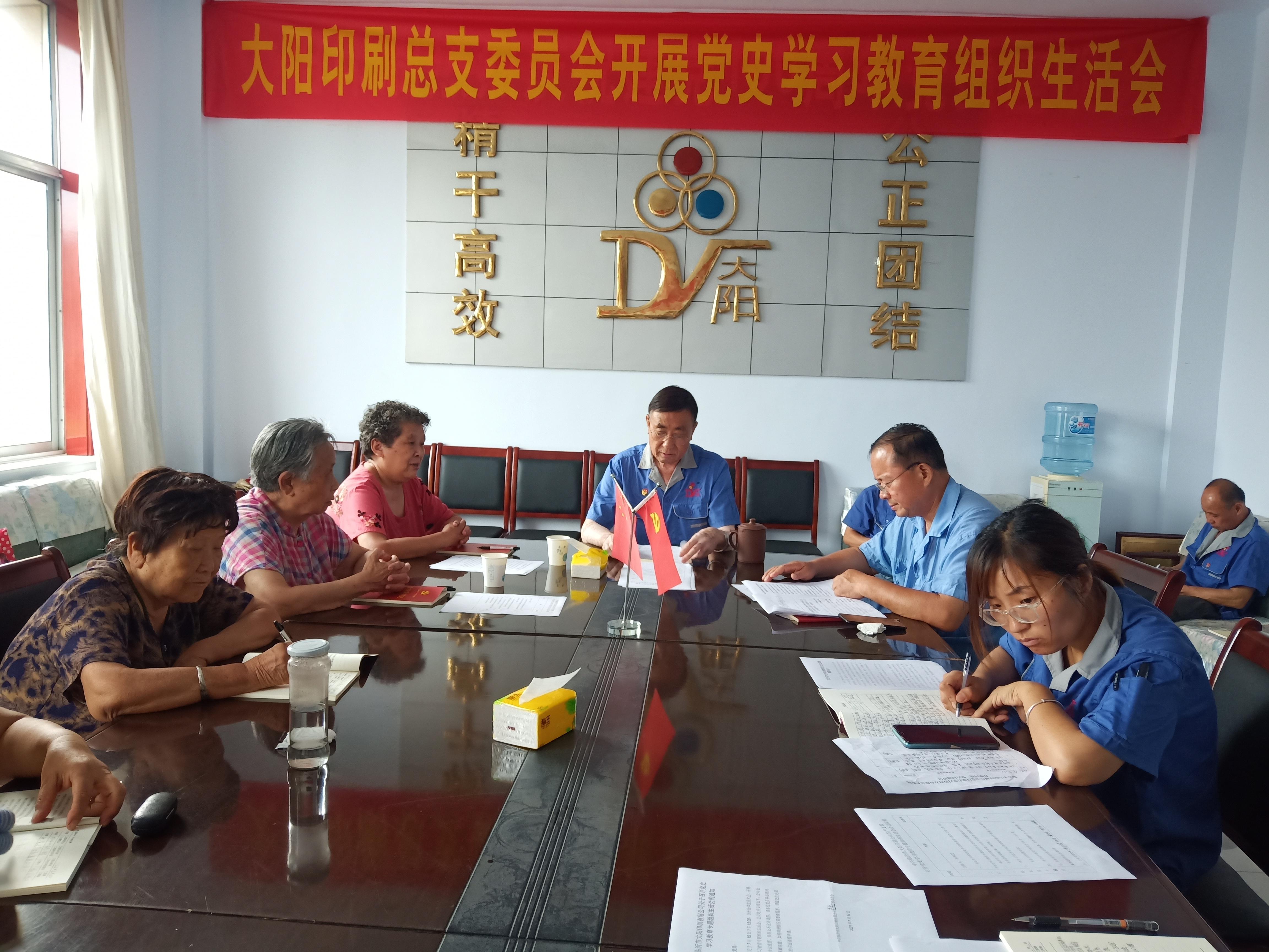大陽印刷總支委員會召開黨史學習教育專題組織生活會