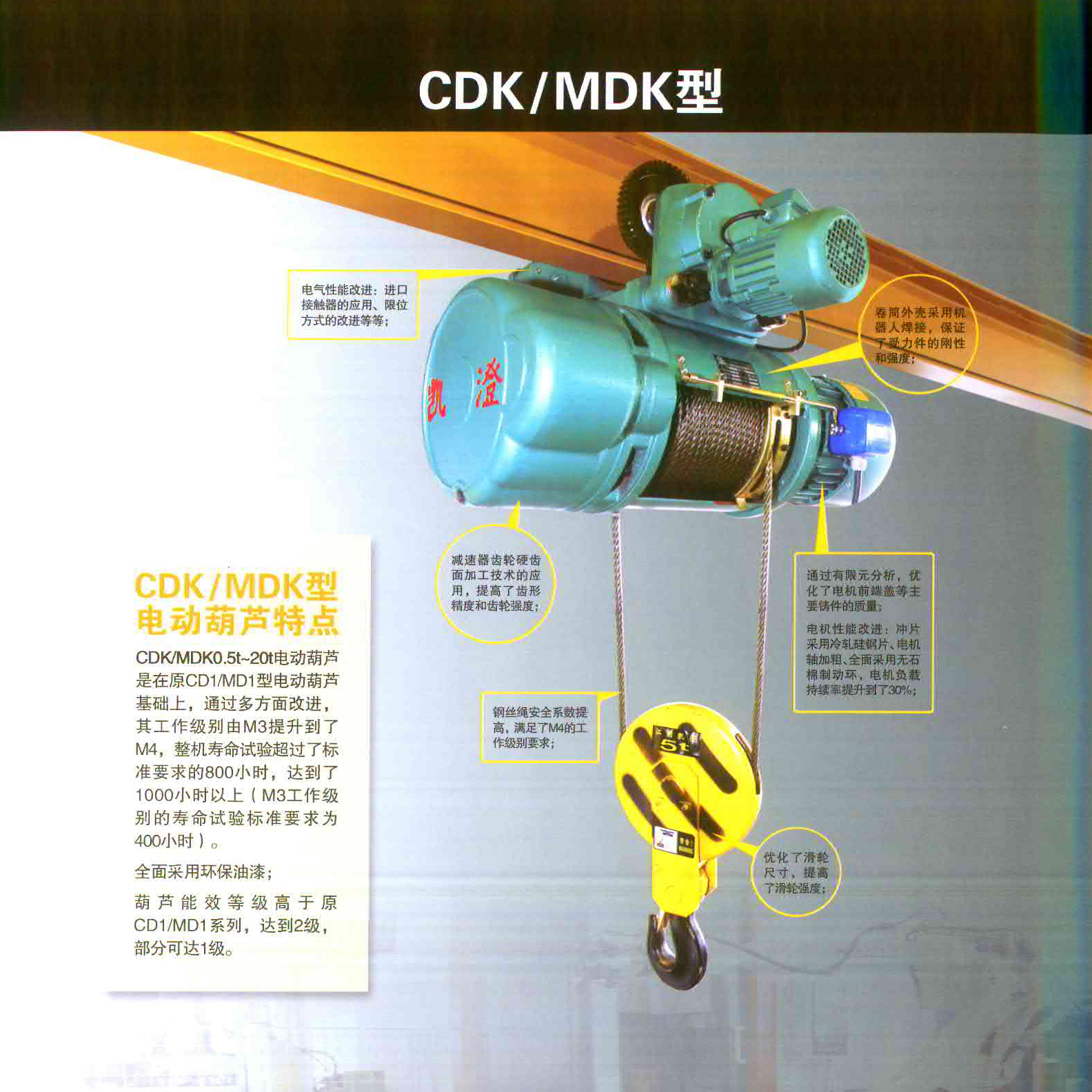 凯澄起重机械CDKMDK型电动葫芦的使用范围