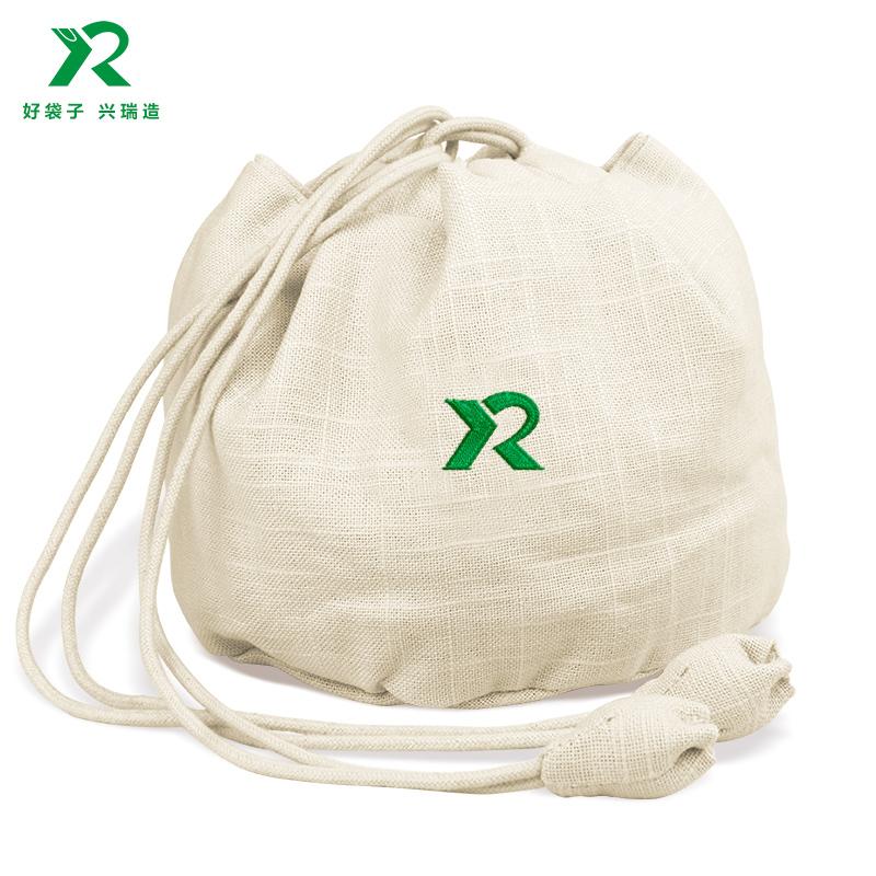 個性定制棉麻布拉繩束口袋