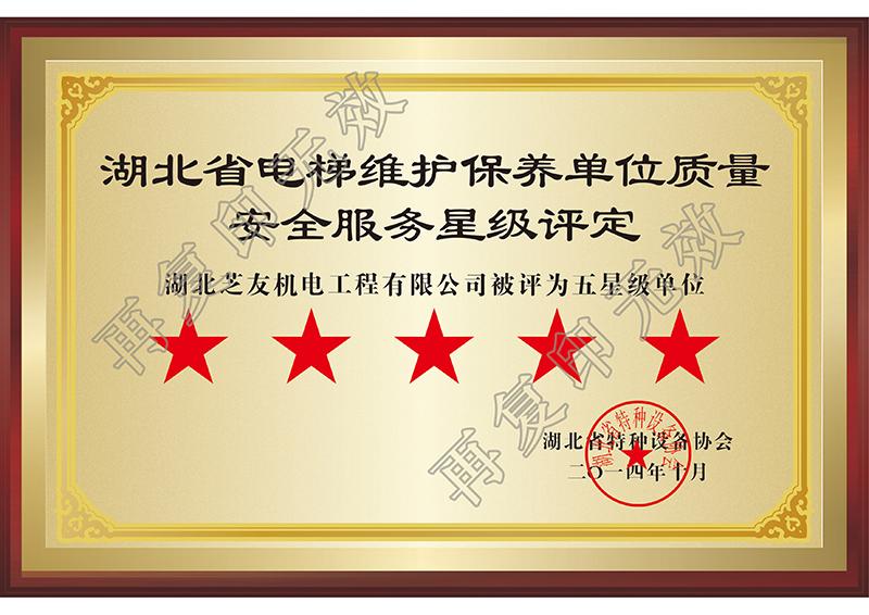 芝友機電-湖北省五星維保單位2014年
