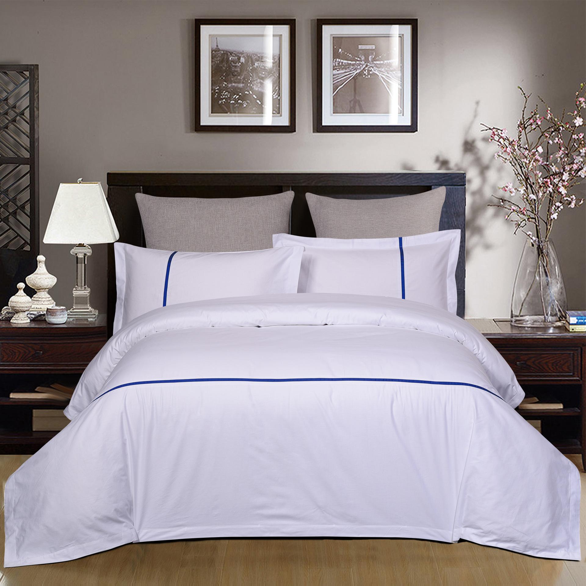 君芝友酒店用品賓館酒店床上用品四件套全棉純色貢緞4件套床單被套床品JZY-0009