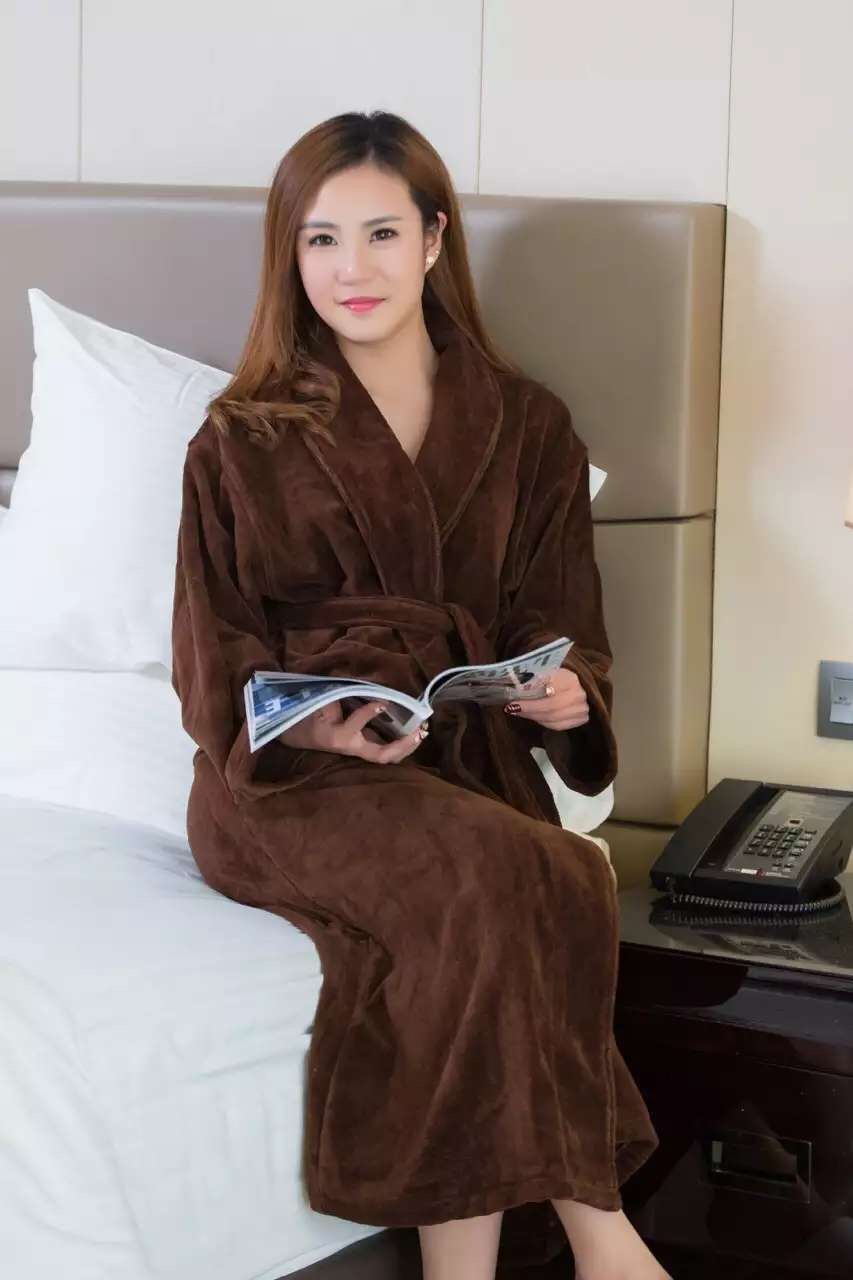君芝友酒店用品珊瑚绒浴袍 外层珊瑚绒内层毛圈酒店用纯色睡衣 五星级酒店全棉浴服