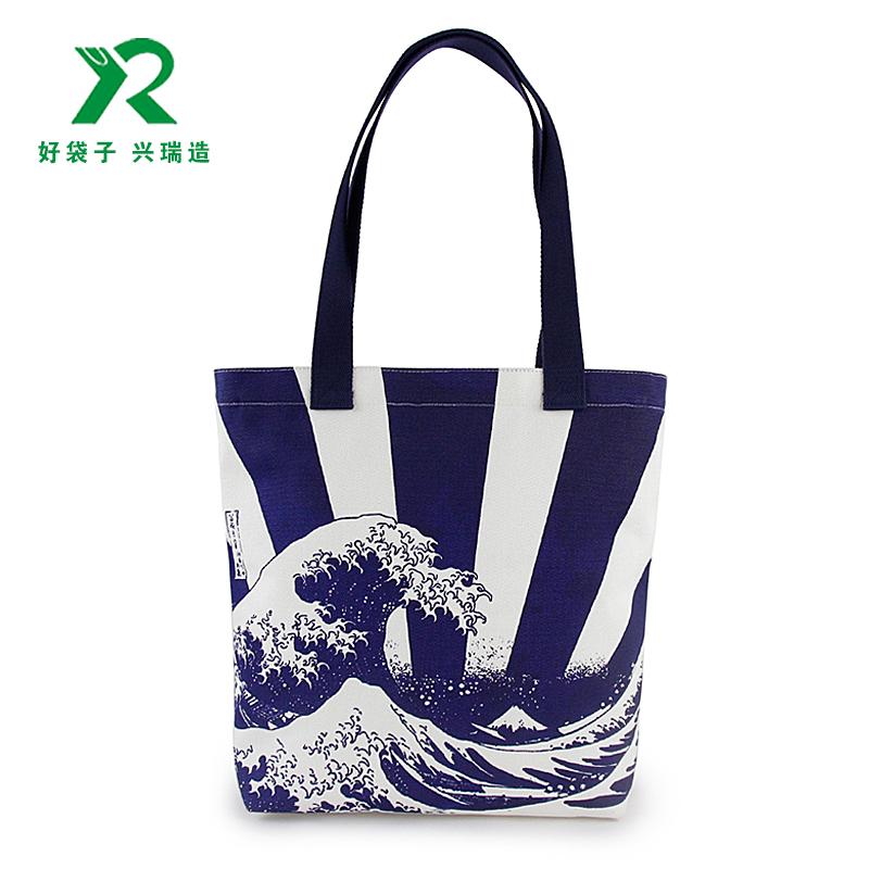 藍色海浪印花帆布袋