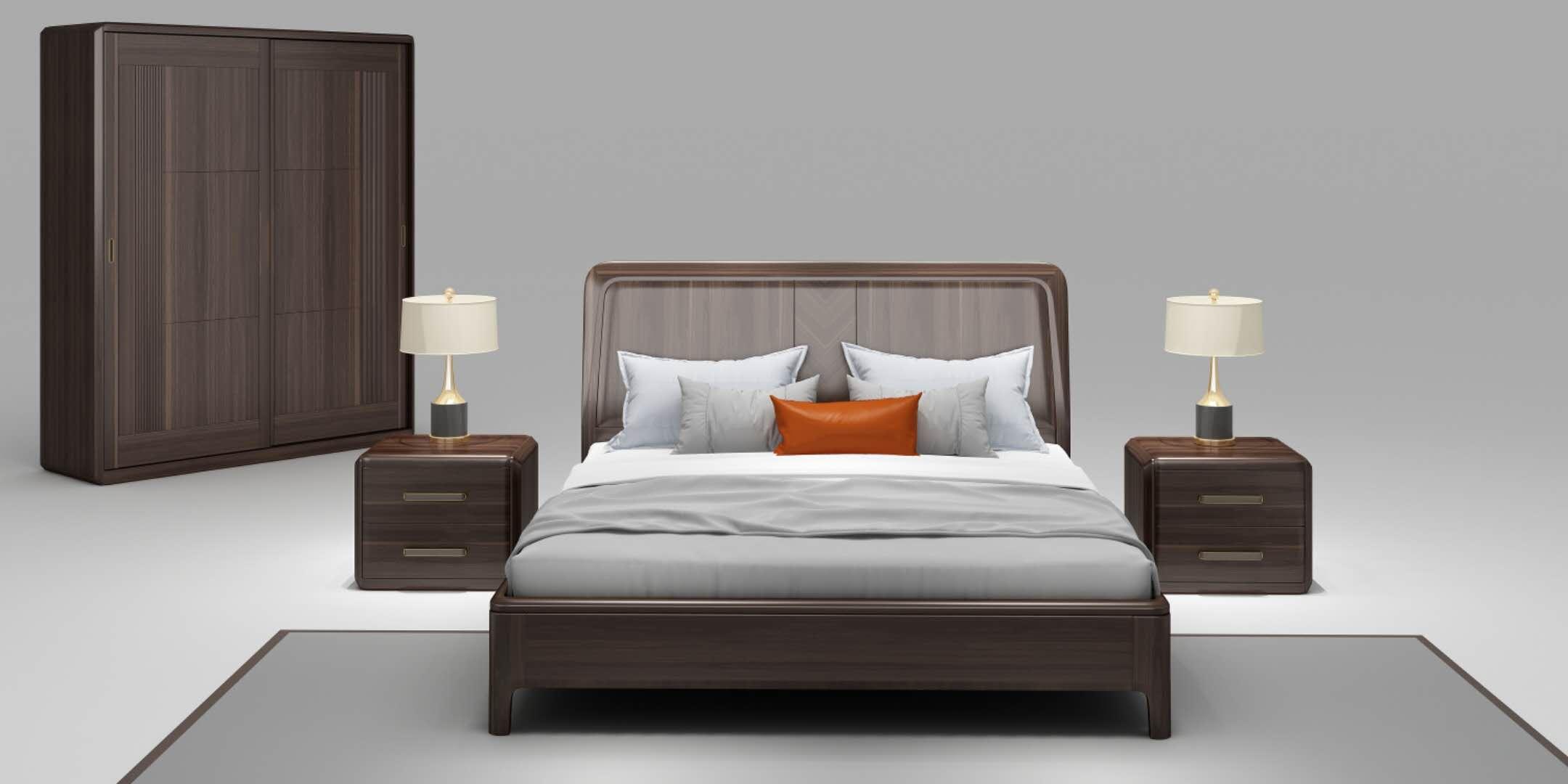 乌金木现代简约---床系列