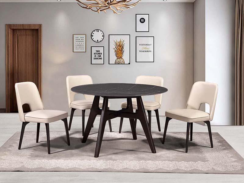 Y316-1圓餐臺(黑色巖板)+Y616餐椅