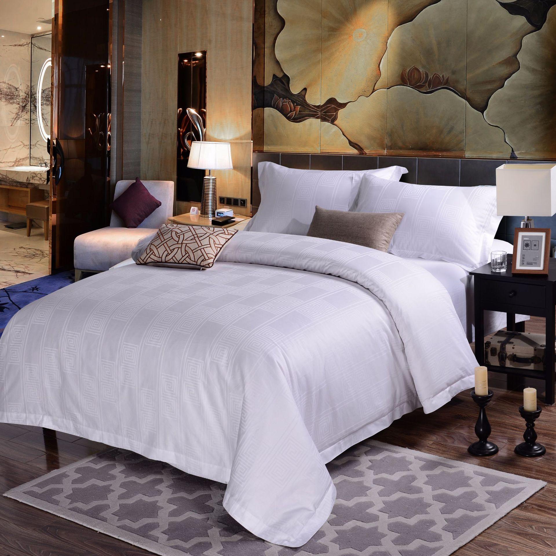 君芝友酒店用品賓館酒店床上用品四件套全棉純白色貢緞4件套床單被套床品JZY-0003
