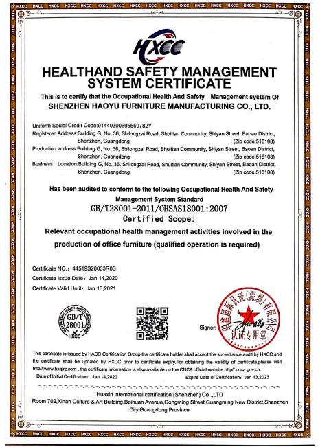 ISO18001系列職業健康安全管理體系認證證書