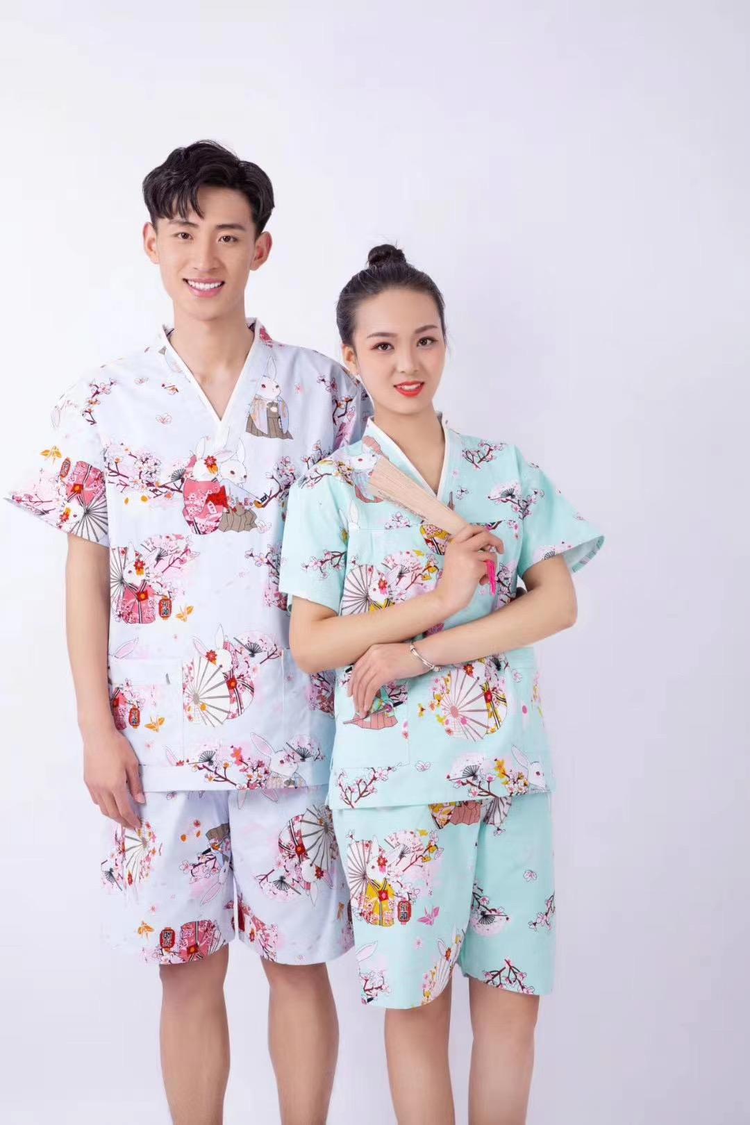 君芝友酒店用品割绒浴袍 酒店用彩色卡通睡衣 五星级酒店全棉浴服产品展示