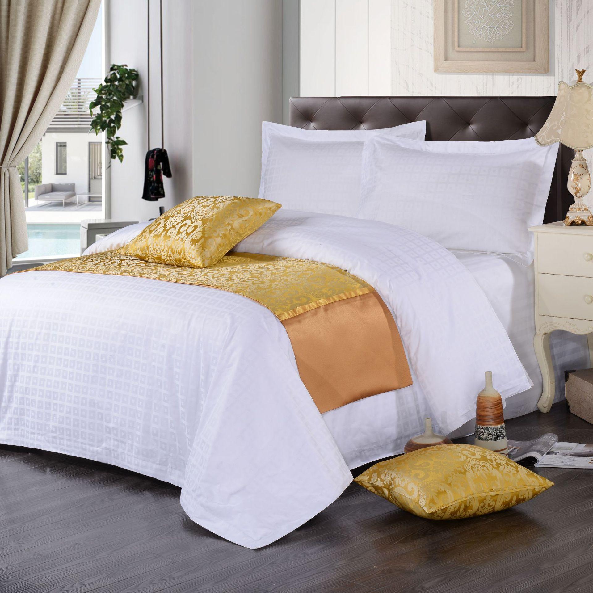 君芝友酒店用品賓館酒店床上用品四件套全棉純白色貢緞4件套床單被套床品JZY-0002