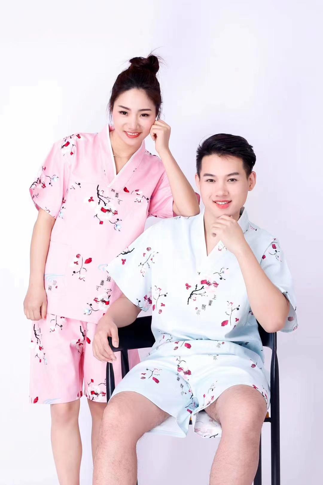 君芝友酒店用品纯棉浴袍 酒店用彩色印花睡衣 五星级酒店全棉浴服产品展示