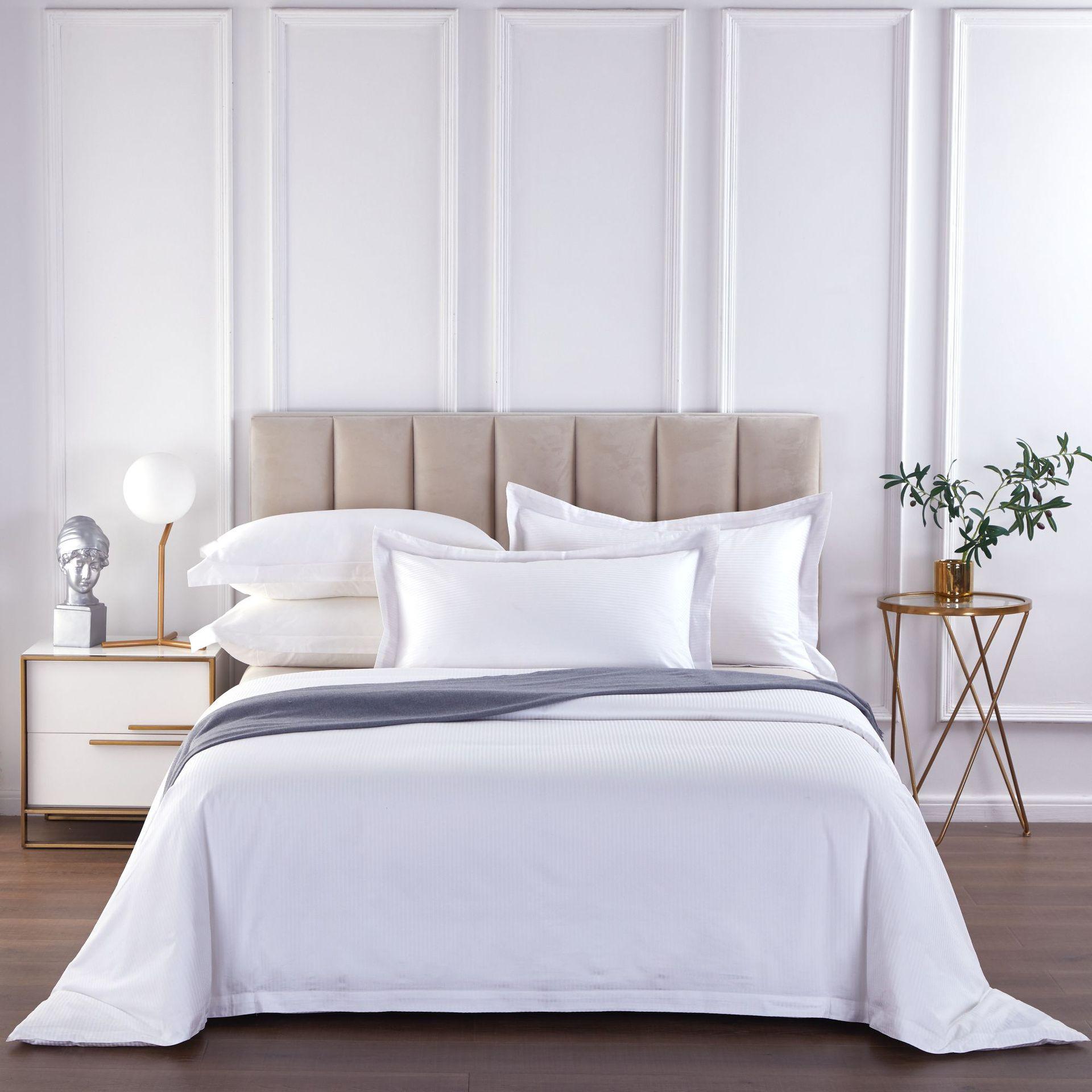君芝友酒店用品賓館酒店床上用品四件套全棉純白色貢緞4件套床單被套床品JZY-0001