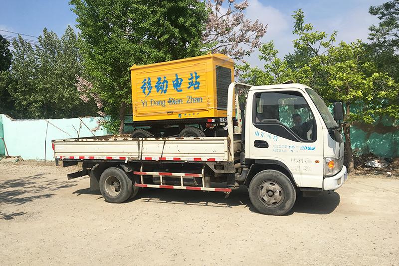 一臺50kw拖車防雨棚式發電機組發往內蒙古錫林郭勒盟