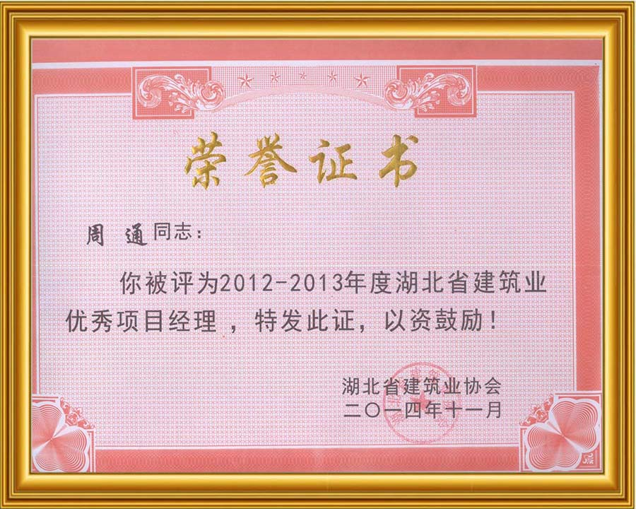 周通湖北省優秀項目經理2014.11